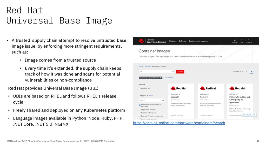 Red Hat Universal Base Image IBM Developer A/NZ...