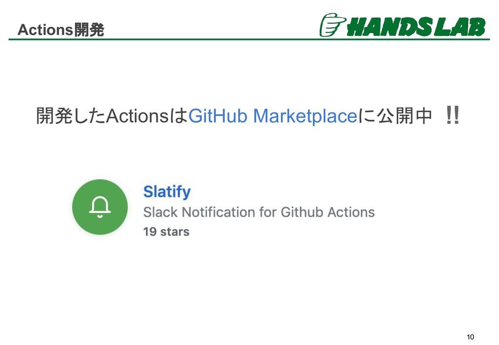Actions開発 10 開発したActionsはGitHub Marketplaceに公開中