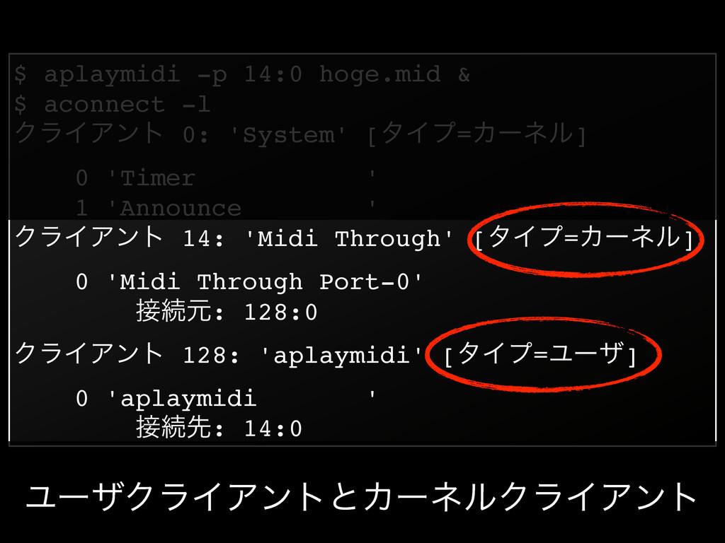 $ aplaymidi -p 14:0 hoge.mid &! $ aconnect -l! ...
