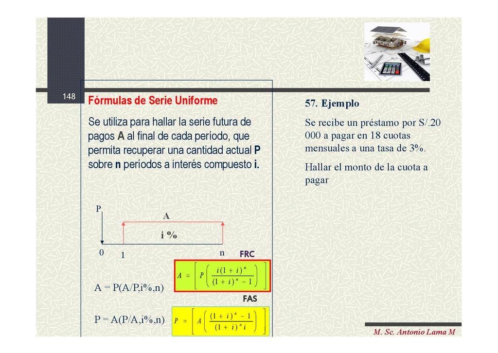 148 M. Sc. Antonio Lama M Fórmulas de Serie Uni...