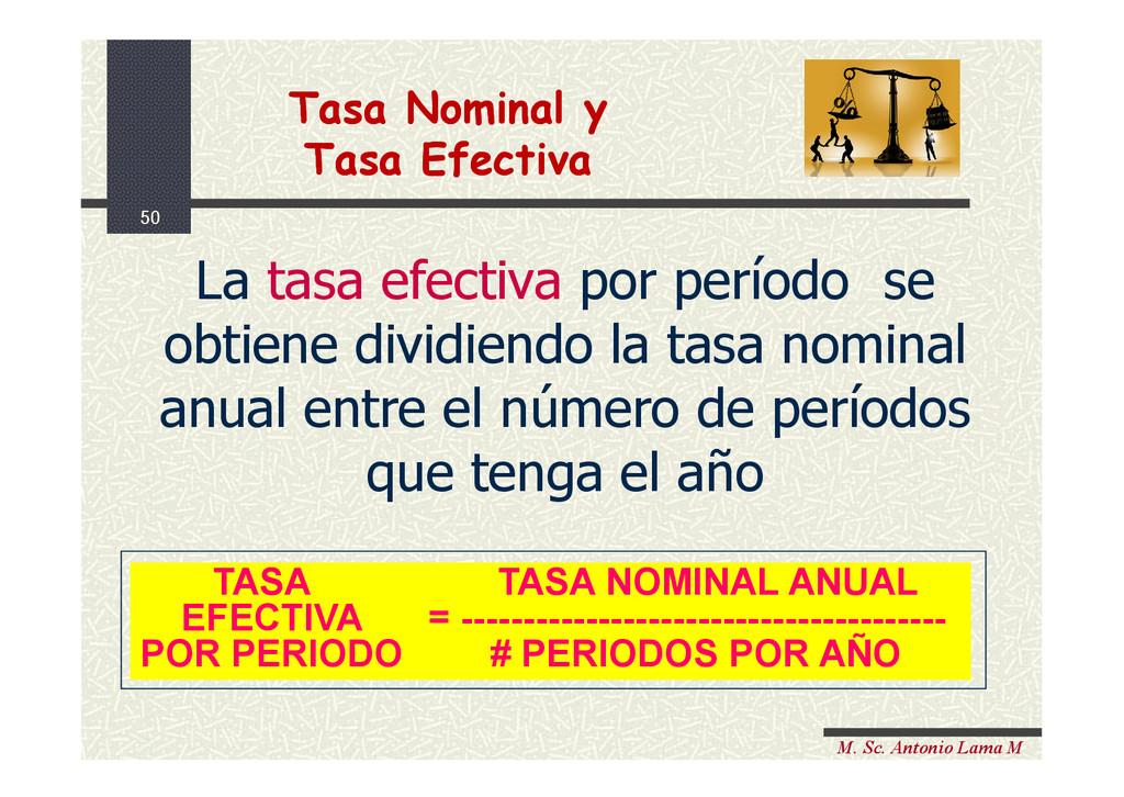 50 M. Sc. Antonio Lama M La tasa efectiva por p...