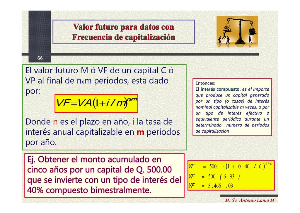 66 M. Sc. Antonio Lama M El valor futuro M ó VF...