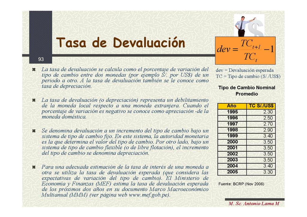93 M. Sc. Antonio Lama M Tasa de Devaluación La...