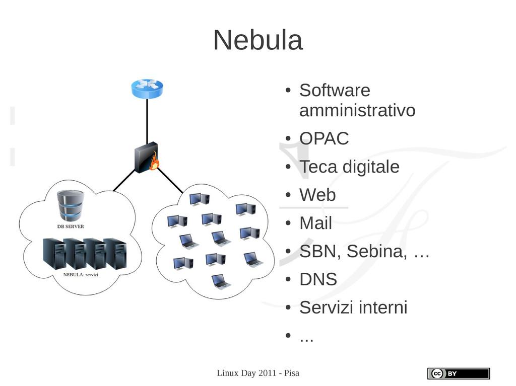 Linux Day 2011 - Pisa Nebula ● Software amminis...