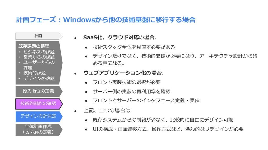 計画フェーズ︓Windowsから他の技術基盤に移⾏する場合 l SaaS化、クラウド対応の場合...