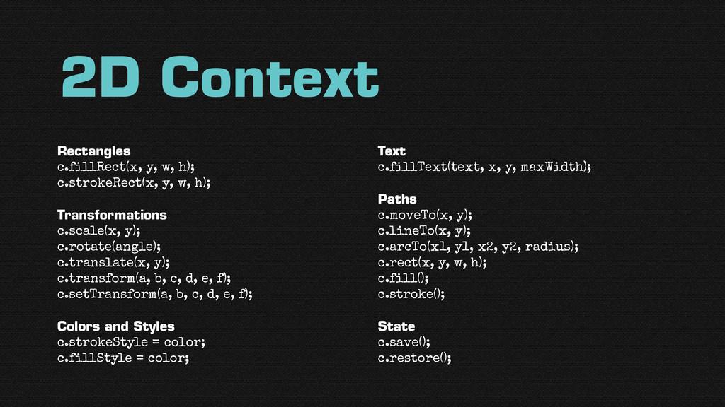 2D Context Rectangles c.fillRect(x, y, w, h); c....
