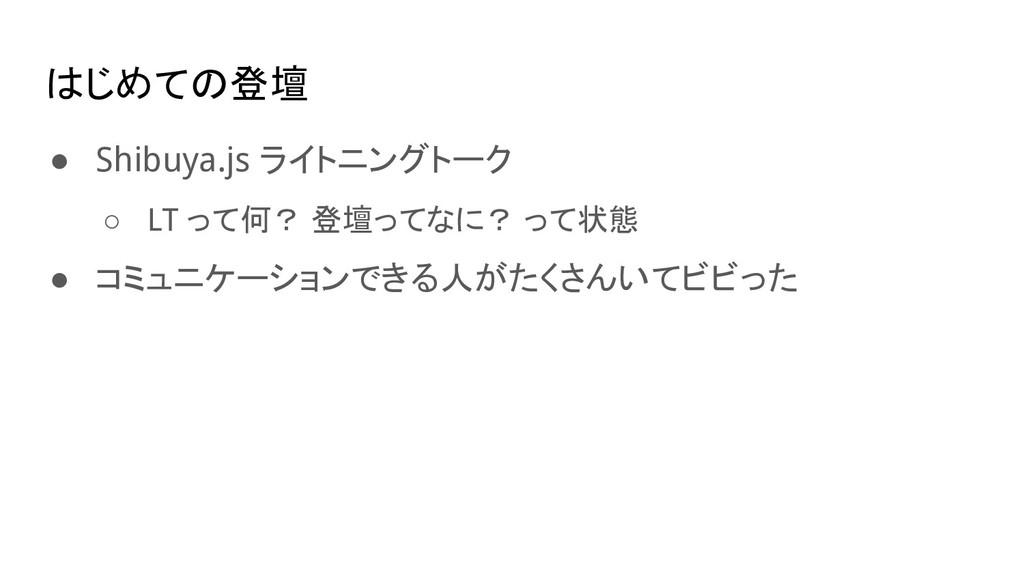 はじめての登壇 ● Shibuya.js ライトニングトーク ○ LT って何? 登壇ってなに...