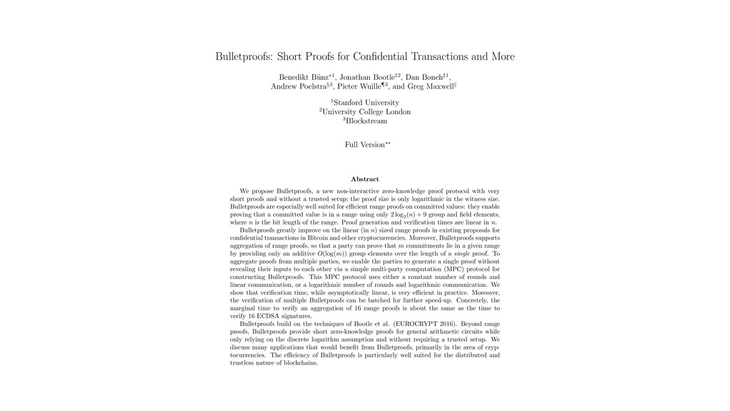 Bulletproofs: Short Proofs for Confidential Tran...