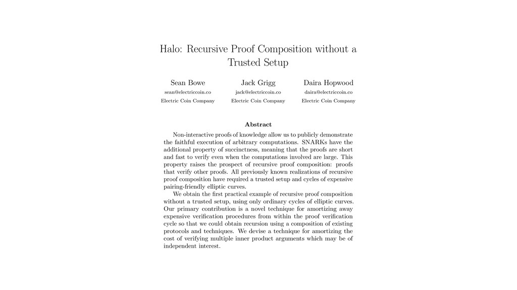 Halo: Recursive Proof Composition without a Tru...