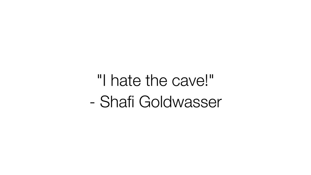 """I hate the cave!"" - Shafi Goldwasser"