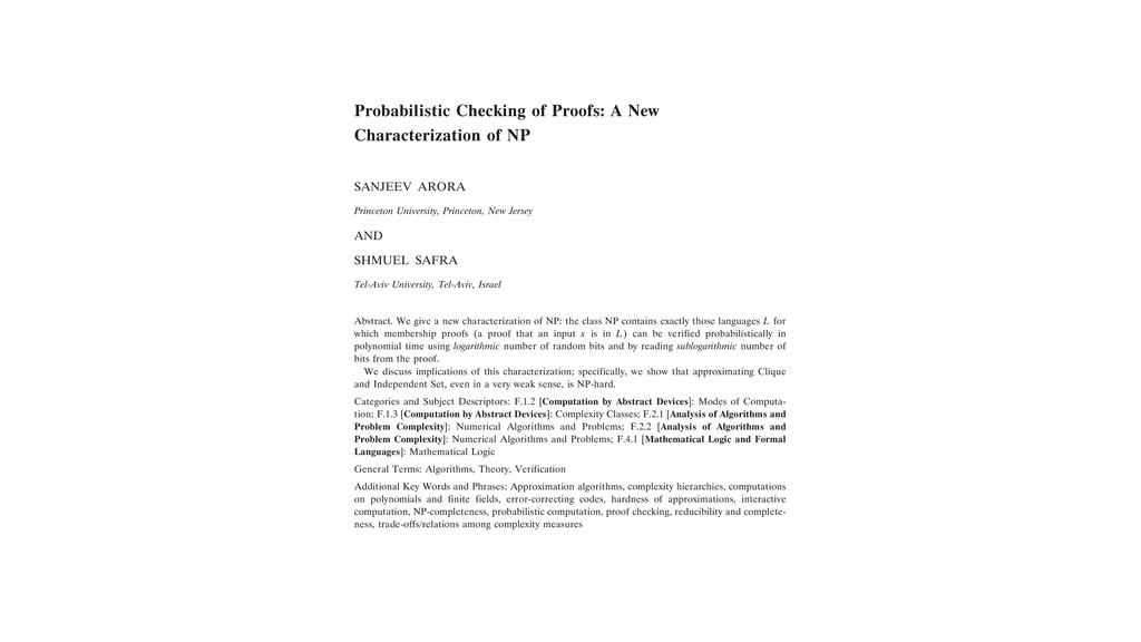 Probabilistic Checking of Proofs: A New Charact...