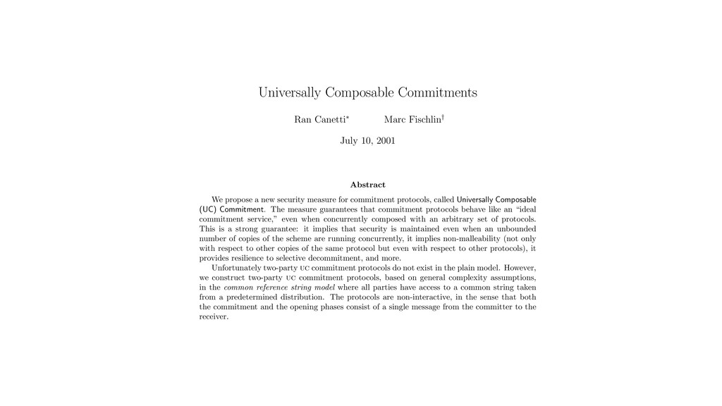 Universally Composable Commitments Ran Canetti⇤...