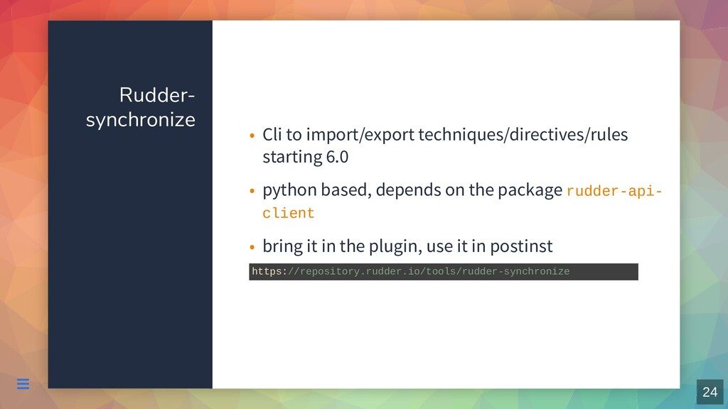 Rudder- synchronize Cli to import/export techni...