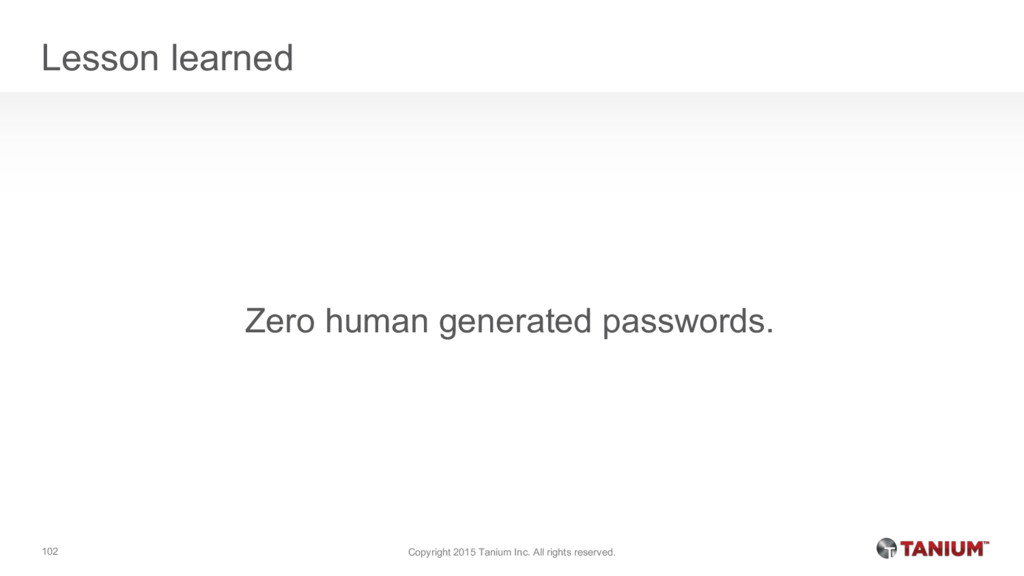 Lesson learned Zero human generated passwords. ...