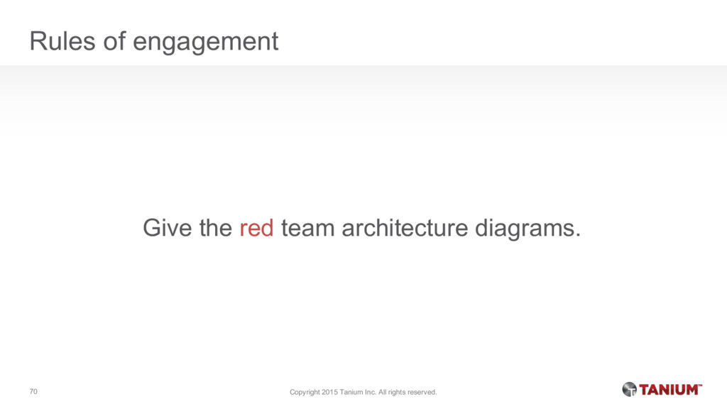 Rules of engagement Give the red team architect...