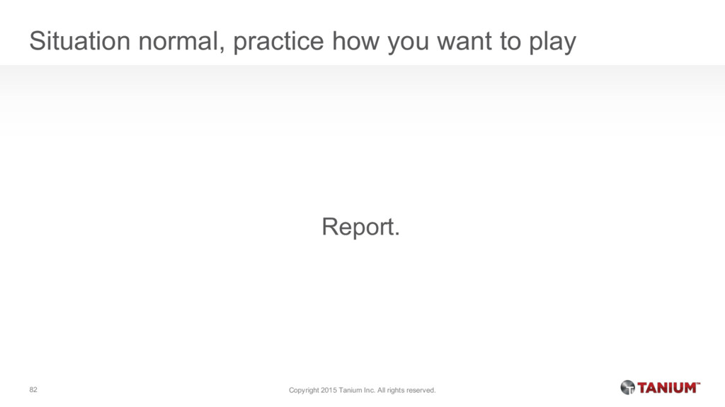 Situation normal, practice how you want to play...
