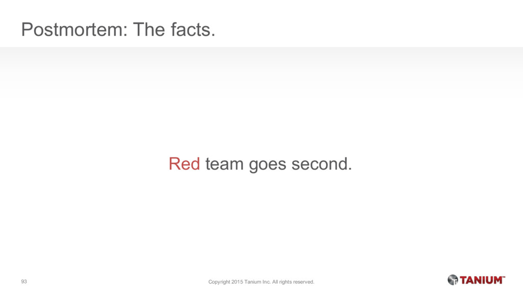 Postmortem: The facts. Red team goes second. Co...