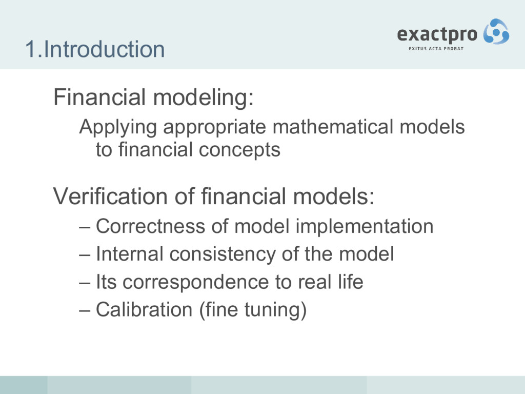 1.Introduction Financial modeling: Applying app...