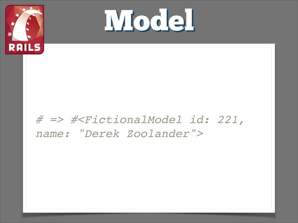 "Model # => #<FictionalModel id: 221, name: ""Der..."