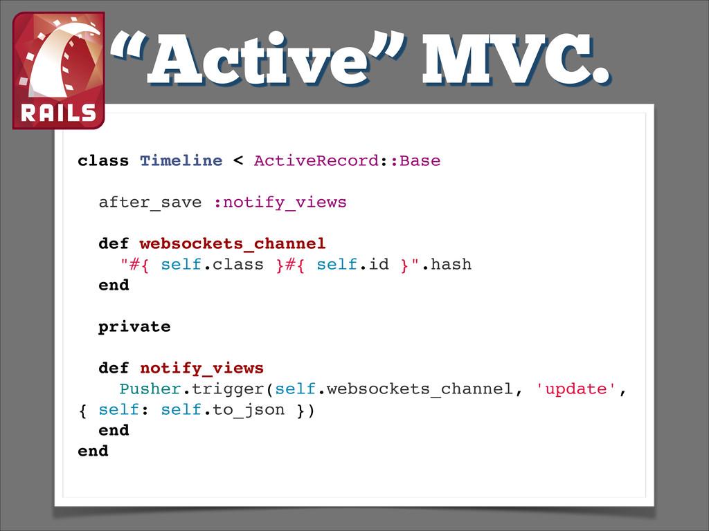 """Active"" MVC. class Timeline < ActiveRecord::Ba..."