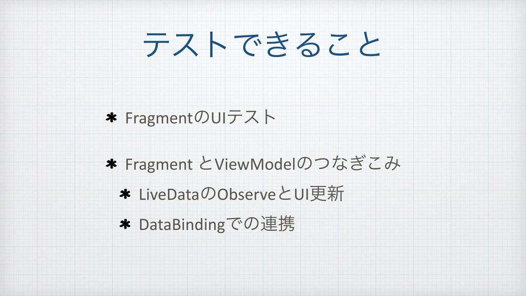 ςετͰ͖Δ͜ͱ FragmentͷUIςετ Fragment ͱViewModelͷͭͳ͗...