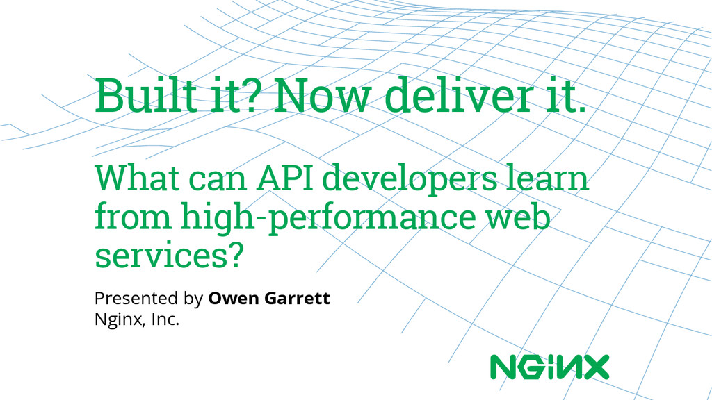 Built it? Now deliver it. What can API develope...