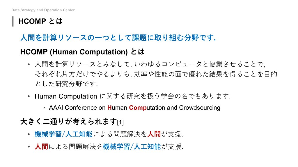 Data Strategy and Operation Center HCOMP とは ⼈間を...