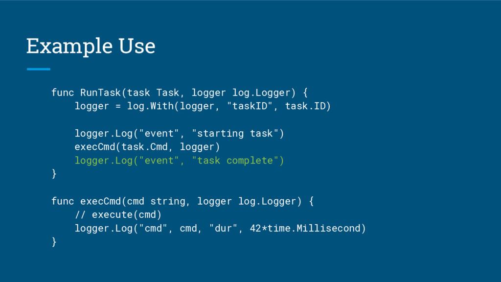 Example Use func RunTask(task Task, logger log....