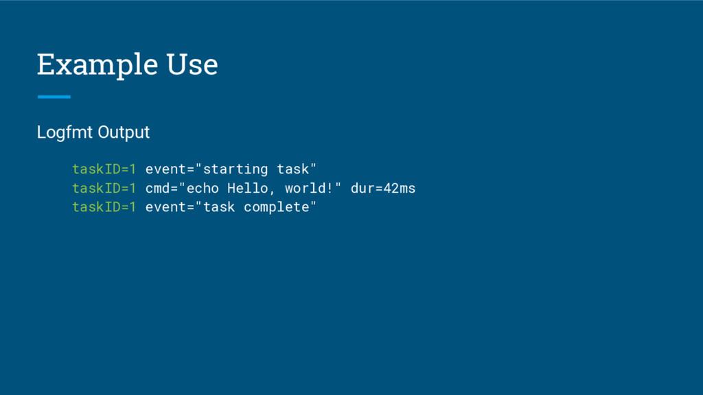 "Example Use Logfmt Output taskID=1 event=""start..."