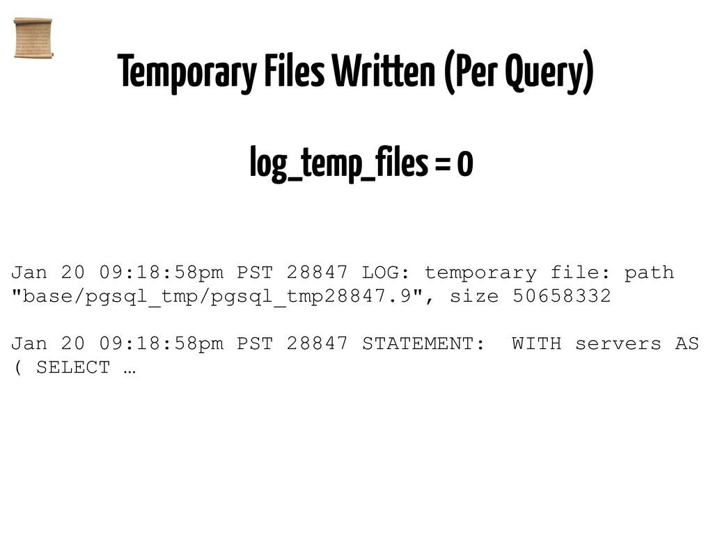 Temporary Files Written (Per Query) log_temp_fi...