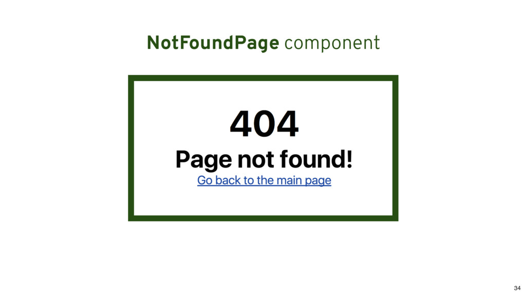 NotFoundPage component 34