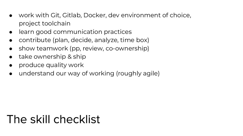 ● work with Git, Gitlab, Docker, dev environmen...