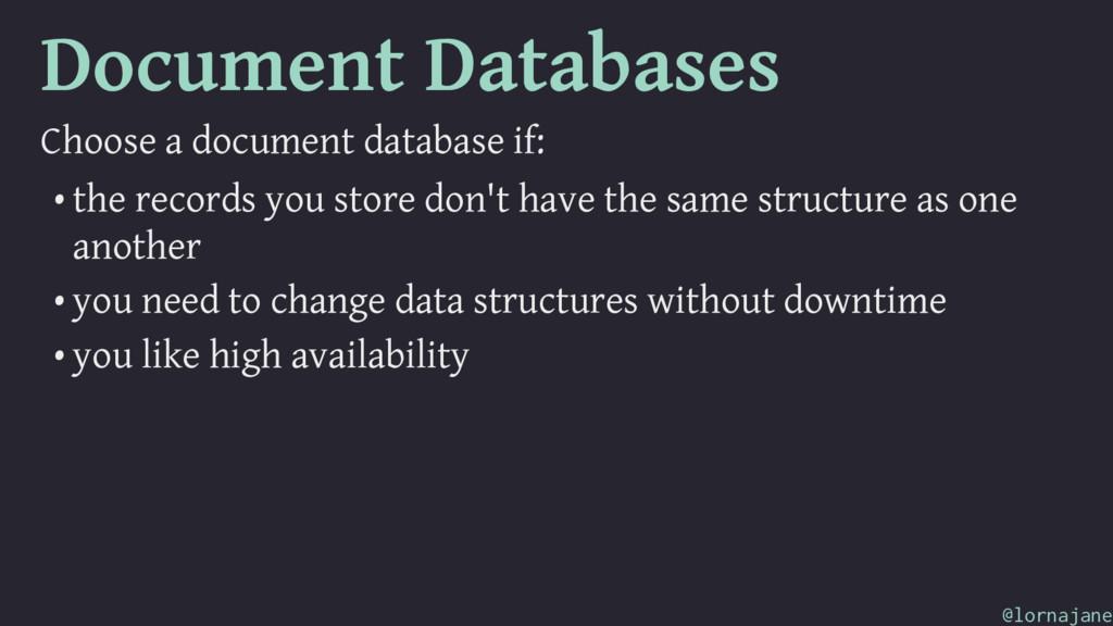Document Databases Choose a document database i...