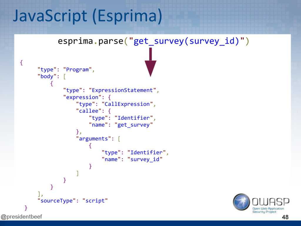 "@presidentbeef JavaScript (Esprima) { ""type"": ""..."