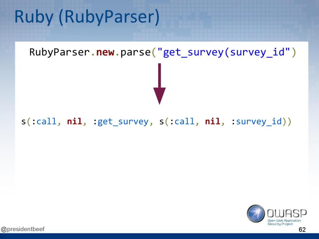 @presidentbeef Ruby (RubyParser) s(:call, nil, ...