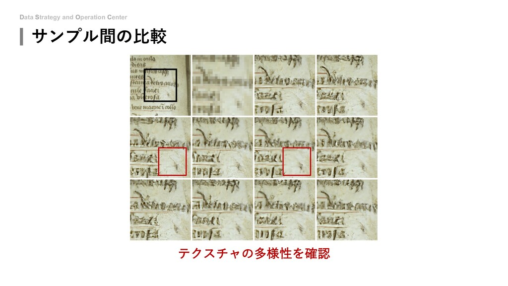 Data Strategy and Operation Center サンプル間の⽐較 テクス...