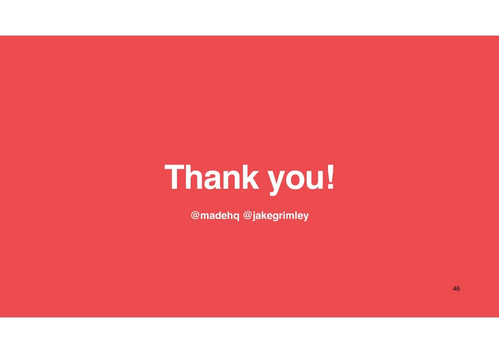 Thank you! 46 @madehq @jakegrimley