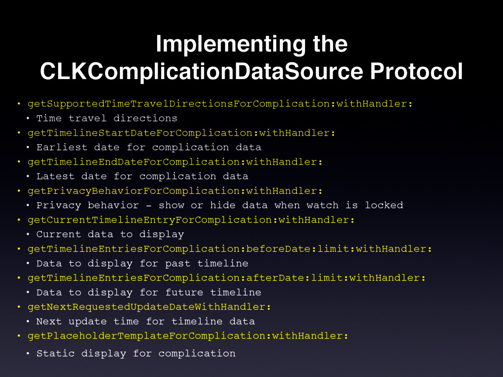 Implementing the CLKComplicationDataSource Prot...