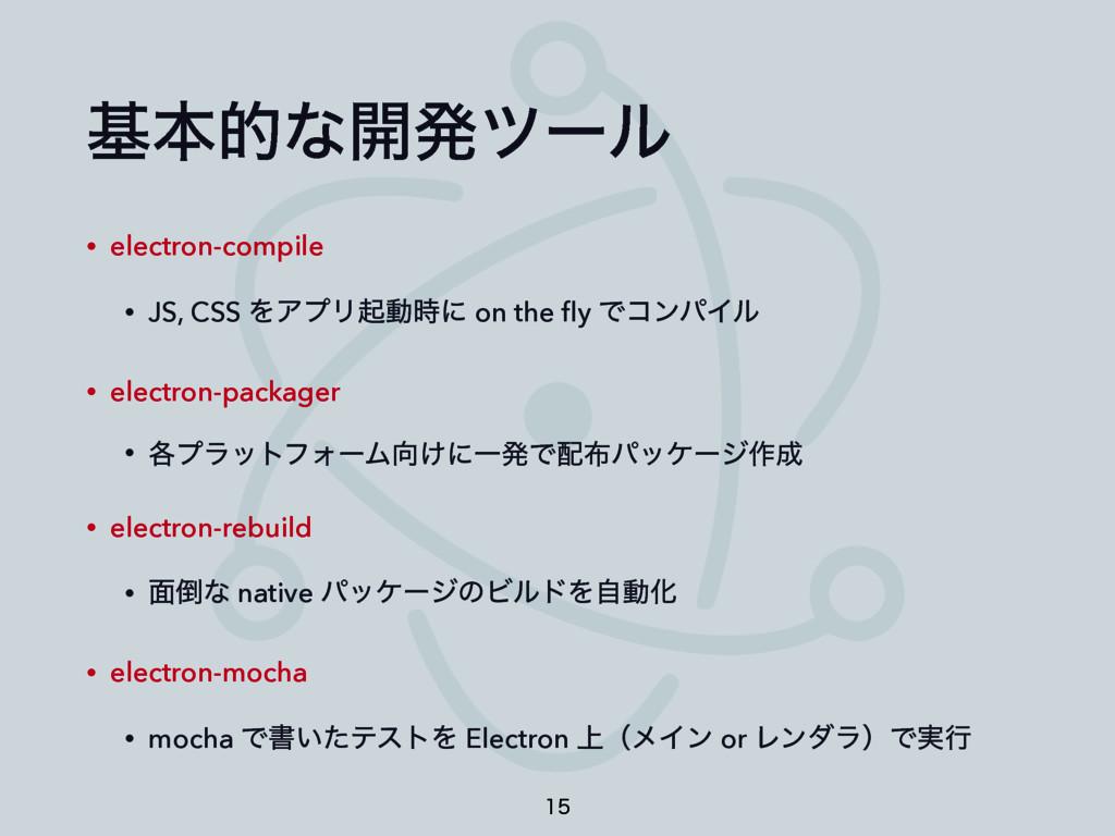 جຊతͳ։ൃπʔϧ • electron-compile • JS, CSS ΛΞϓϦىಈʹ...