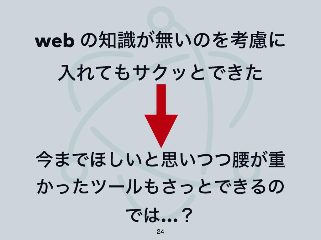 web ͷ͕ࣝແ͍ͷΛߟྀʹ ೖΕͯαΫοͱͰ͖ͨ ࠓ·Ͱ΄͍͠ͱࢥ͍ͭͭࠊ͕ॏ ͔ͬͨπ...