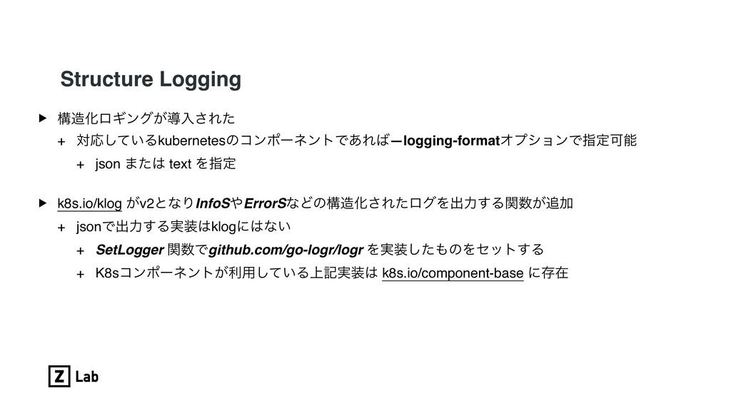 Structure Logging ▶ ߏԽϩΪϯά͕ಋೖ͞Εͨ + ରԠ͍ͯ͠Δkuber...