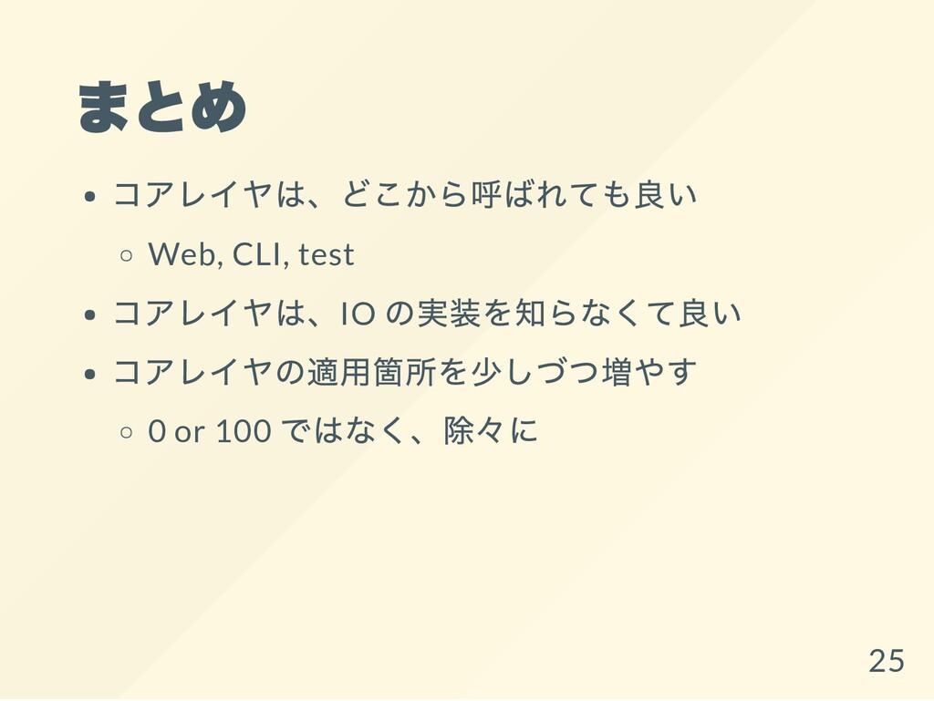 まとめ コアレイヤは、どこから呼ばれても良い Web, CLI, test コアレイヤは、IO...