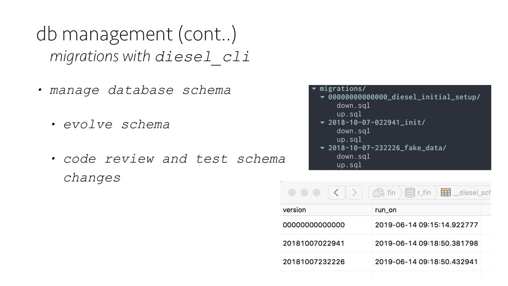 • manage database schema • evolve schema • code...