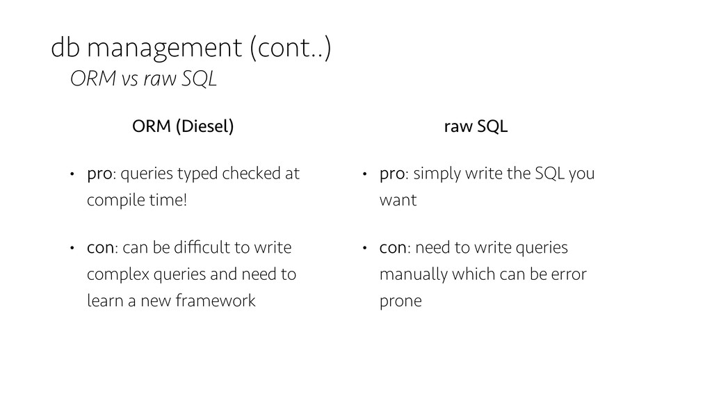 db management (cont..) ORM vs raw SQL ORM (Dies...