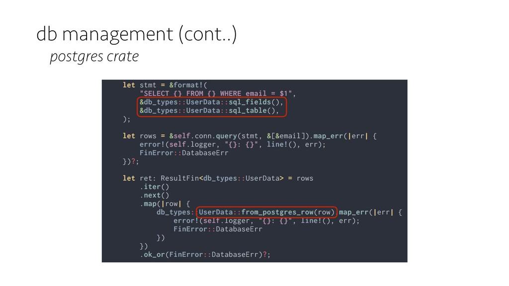 db management (cont..) postgres crate