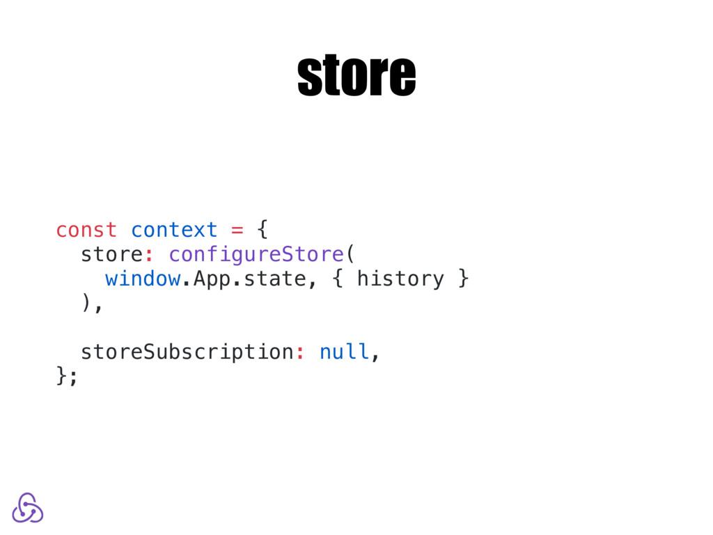 store const context = { store: configureStore( ...