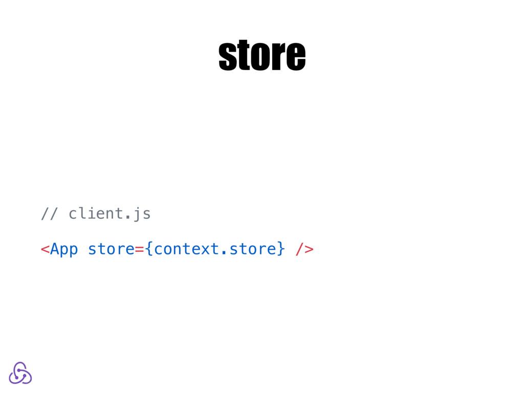 store // client.js <App store={context.store} />