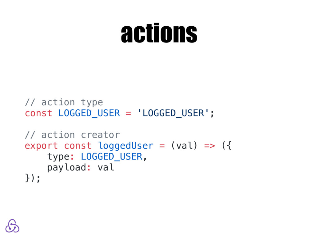 actions // action type const LOGGED_USER = 'LOG...