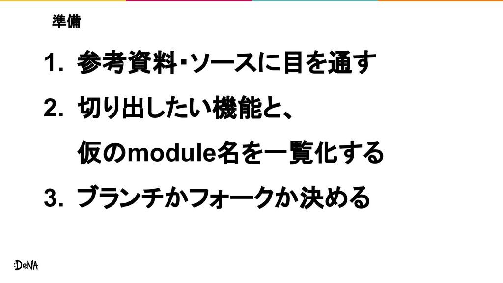 準備 1. 参考資料・ソースに目を通す 2. 切り出したい機能と、 仮のmodule名を一覧化...