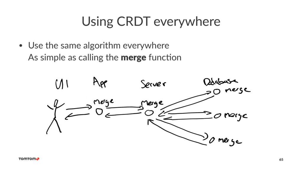 Using CRDT everywhere • Use the same algorithm ...